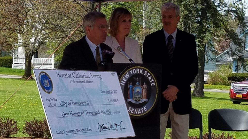 City of Jamestown NY Senator Cathy Young Announce Grant for Veterans Memorial Park