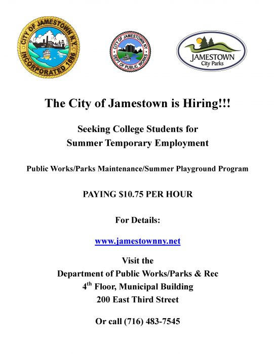 City of Jamestown NY Summer Employment Flyer - 2018